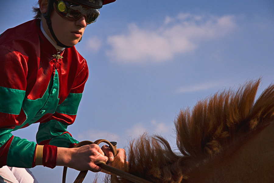 Jockey sur son cheval de course